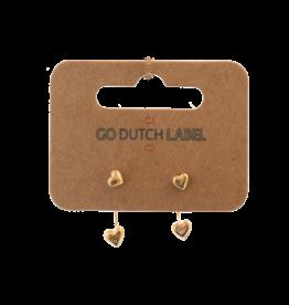 Go Dutch Label Go Dutch Label oorbellen - Dubbele sluiting hartje  goud