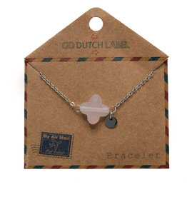 Go Dutch Label Armbanden Go Dutch Label - Roze klaver zilver