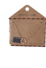 Go Dutch Label Kettingen Go Dutch Label - Open klaver rose goud