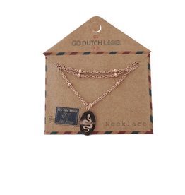 Go Dutch Label Kettingen Go Dutch Label - Medaillon klein met slang  rose goud