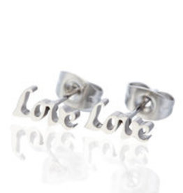 "Made by Mila Oorbellen stainless steel zilver plated ""love"""