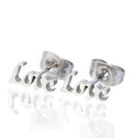 "Made by Mila Oorbellen stainless steel zilver plated ""love"""