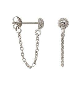 Eline Rosina Eline Rosina oorbellen - Snake stud chain earrings sterling silver