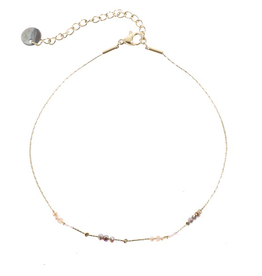 Go Dutch Label Go Dutch Label enkelbandje - Goud met lila beads