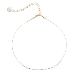 Go Dutch Label Go Dutch Label enkelbandje - Goud met cream beads
