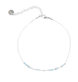 Go Dutch Label Go Dutch Label enkelbandje - Zilver met aqua beads