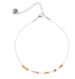 Go Dutch Label Go Dutch Label enkelbandje - Zilver met coral beads