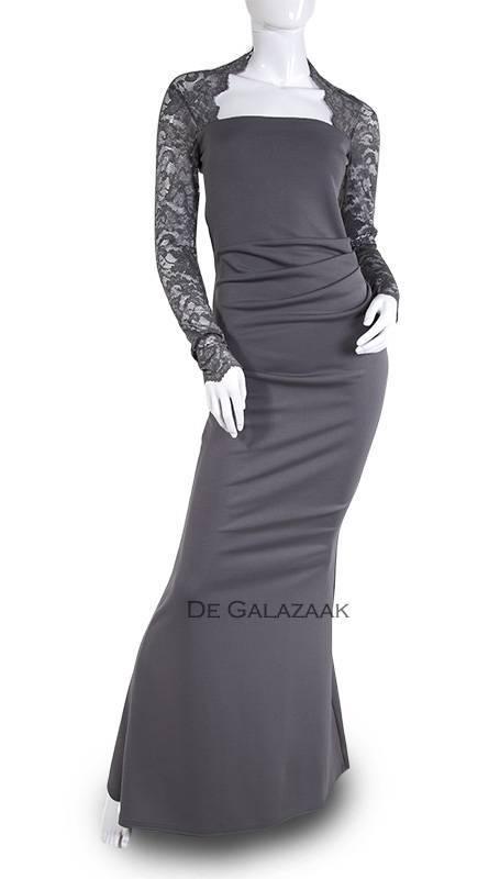 grijze jurk met kanten mouwen  201821
