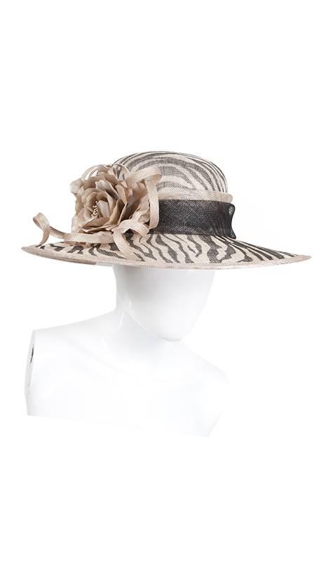 Zebra print hoed beige zwart