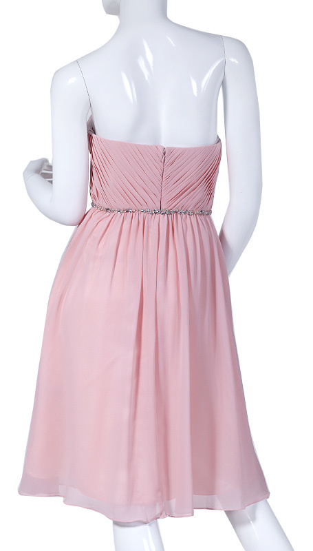 Strapless cocktailjurk roze 202009