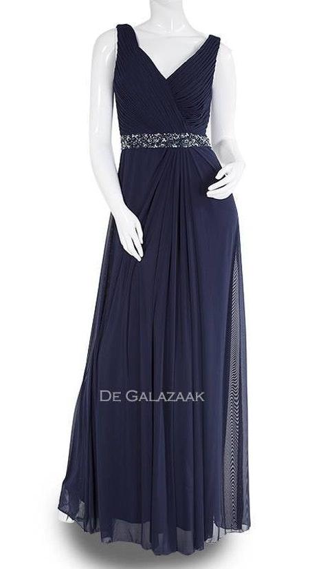 Navy jurk met brede schouderbanden 202028