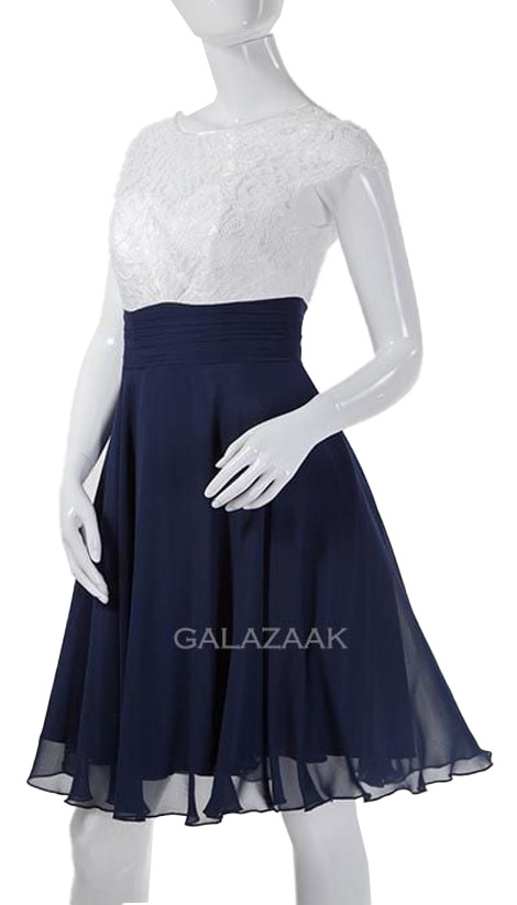 Blauw-wit cocktailjurkje - 202114