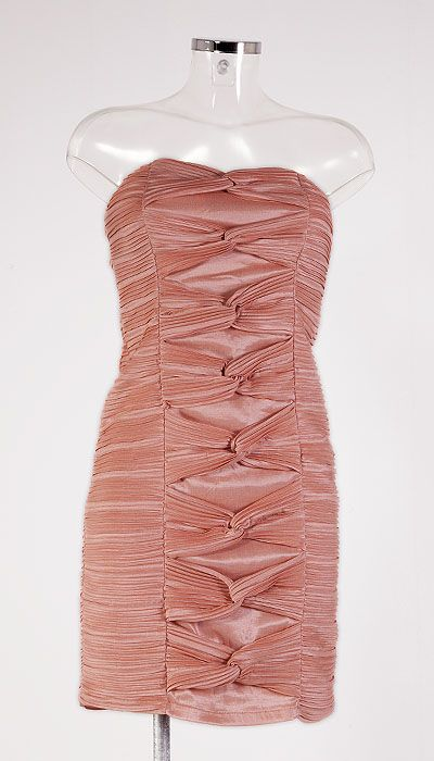 Cocktailjurk roze strapless 12026