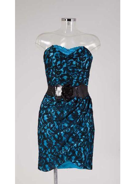 Blauw met zwarte cocktailjurk 12589