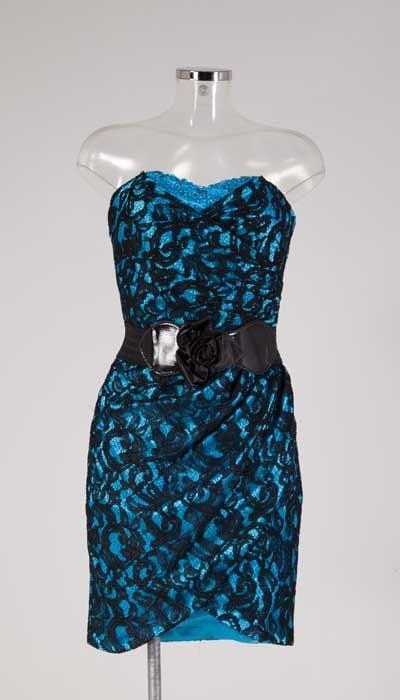 Blauw met zwarte kanten cocktailjurk 12589