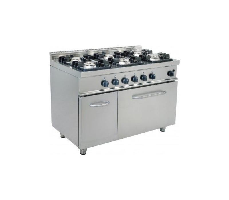 Saro Cuisinière Gaz   6 Feux   avec Four Gaz   3x 4,5kW + 3 x 7kW   1200x700x850(h)mm