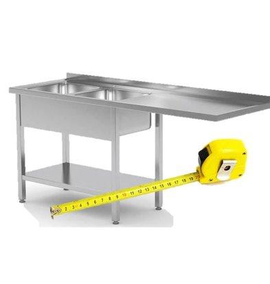 CHRselect Table de Prélavage INOX pour Lave-Vaisselle Chargement Frontale ou à Capot | FAIT SUR MESURE