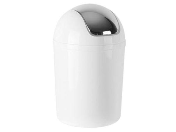 CHRselect Poubelle Plastique Blanc | Couvercle Basculante | 5 Litres