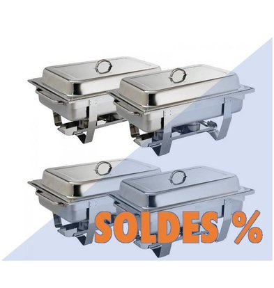 CHRselect Lot De 4 Chafing Dish Milan | GN1/1 - 9 Ltr | PROMOTION XXL!