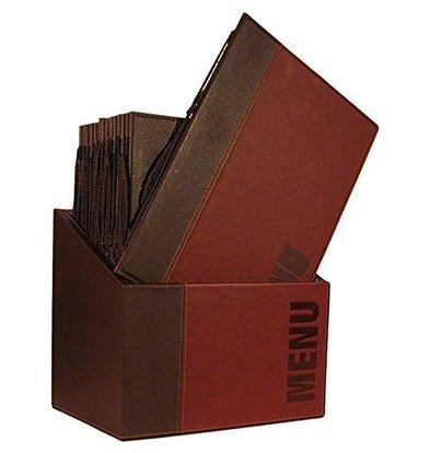Securit Boîte avec 20 Protege-Menus A4   Bordeaux   370x290x210mm