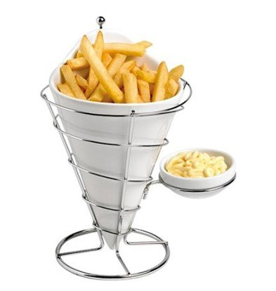 CHRselect Cornet à Frites INOX/Porcelaine | Ø120x230(h)mm