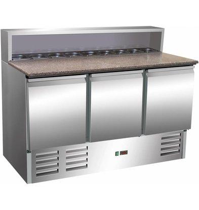 Saro Comptoir à Pizza INOX | 3 Portes | Avec 8x 1/6GN | 1370x700x1100(h)mm