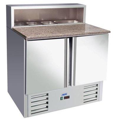 Saro Comptoir à Pizza INOX | 2 Portes | Avec 5x 1/6GN | 900x700x1100(h)mm