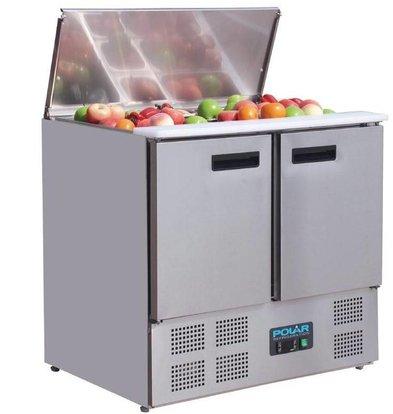 Polar Comptoir Réfrigéré à Salades | 2 Portes | 240 Litres | 700x900x885(h)mm