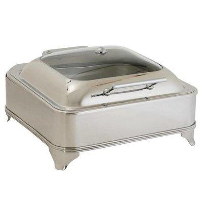 CHRselect Chafing Dish Electrique | Couvercle en Verre | 6 Litres | 410x410x240(h)mm