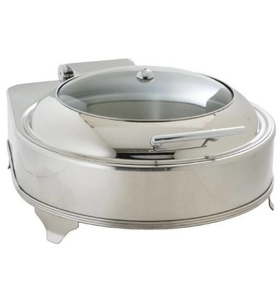 CHRselect Chafing Dish Electrique | Couvercle en Verre | 6 Litres | Modèle Rond 240(h)mm