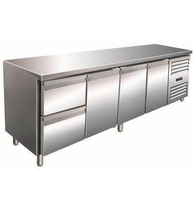 Saro Comptoir Réfrigéré INOX | 3 Portes + 2 Tiroirs | 2230x700x890/950(h)mm