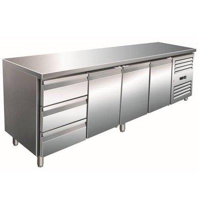 Saro Comptoir Réfrigéré INOX | 3 Portes + 3 Tiroirs | 2230x700x890/950(h)mm