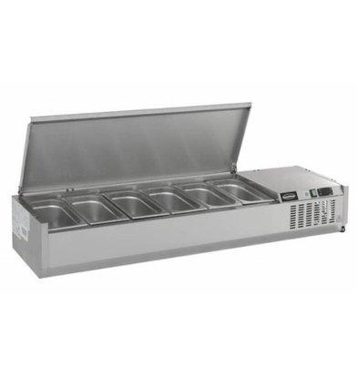 Combisteel Vitrine Réfrigérée à Poser | Couvercle INOX | 4x GN1/3 (NON FOURNIS) | 1200x395x225(h)mm