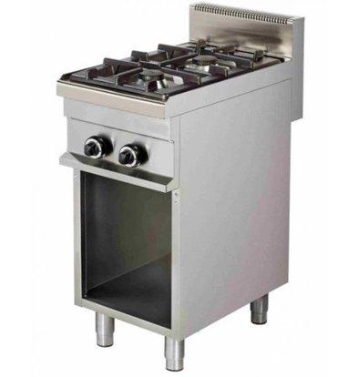 Combisteel Cuisinière 2 Feux | Soubassement Ouverte | 2x 6kW | 400x700x900(h)mm