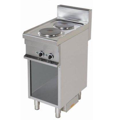 Combisteel Cuisinière Électrique | 2 Plaques | Support Ouverte | 2x 2,6kW | 400x700x900(h)mm