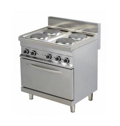 Combisteel Cuisinière Électrique avec Four | 4 Plaques | 4x 2,6kW | 800x700x900(h)mm