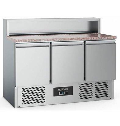 Combisteel Comptoir à Pizza Inox | Pour 7x GN1/6 |  3 Portes | 1370x700x1080(h)mm