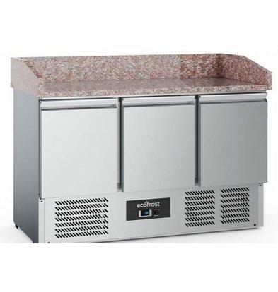 Combisteel Comptoir à Pizza Inox | 3 Portes | 1400x700x1020(h)mm