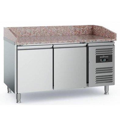 Combisteel Comptoir à Pizza Inox | 2 Portes | 1520x800x1000(h)mm