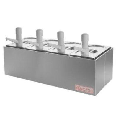 Emga Distributeur de Sauces INOX | Complet 4x1/4GN