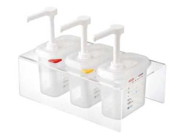 Emga Distributeur de Sauces Plastique   Complet 3x 1/9GN - 150mm