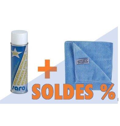 CHRselect Set de Nettoyage de Matériel INOX | Spray Nettoyant + 2 Chiffons Micro Fibre | PROMOTION XXL!