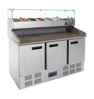 Polar Comptoir à Pizza INOX   368 Litres   avec Vitrine Réfrigérée   1400x700x1445(h)mm