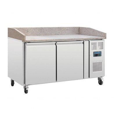 Polar Comptoir à Pizza INOX | Dessus Marbre | 2 Portes | 1510x800x1000(h)mm