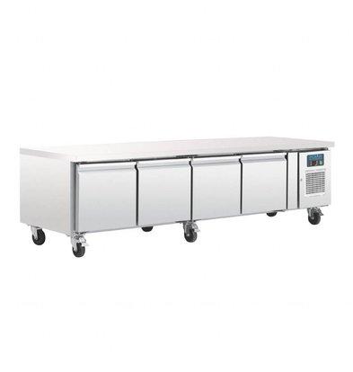 Polar Comptoir Réfrigéré INOX | Modèle Faible Hauteur | 4 Portes GN1/1 | 2230x700x650(h)mm