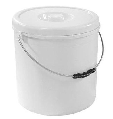 Emga Seau Plastic Blanc | avec Couvercle | Disponibles en 4 Tailles
