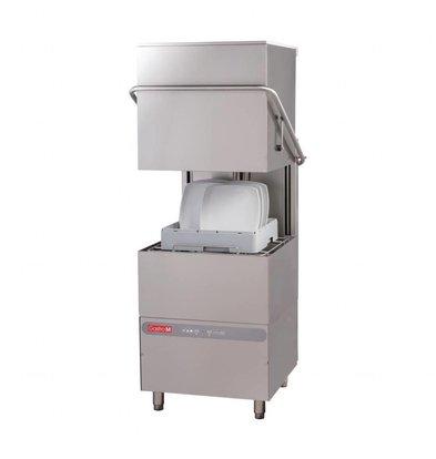 Gastro M Lave-Vaisselle à Capot INOX | 50x50cm | 400V | Pompe de Rinçage et Doseur Détergent