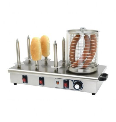 Buffalo Chauffe-Saucisses INOX | 6 Plots | 750W | Thermostat Réglable | 340x670x370(h)mm
