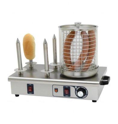 Buffalo Chauffe-Saucisses INOX | 4 Plots | 650W | Thermostat Réglable | 340x550x370(h)mm