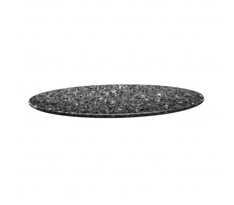 Topalit Plateau de Table Rond | Topalit Smartline | 70cm | Granite Noir